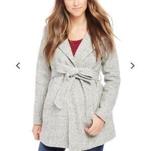 Motherhood Maternity Jackets & Coats - Motherhood Maternity hooded Boucle Jacket